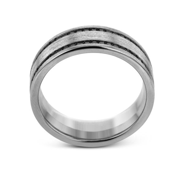 Simon G. White Gold Black Diamond Men's Wedding Band Image 3 Rolland's Jewelers Libertyville, IL