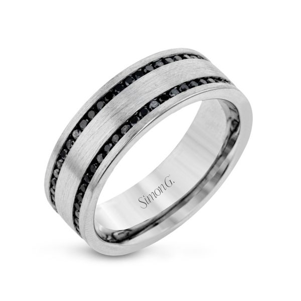 Simon G. White Gold Black Diamond Men's Wedding Band Rolland's Jewelers Libertyville, IL