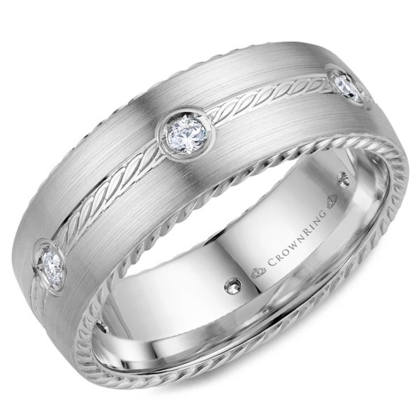 Crown Ring Diamond Rope Men's Band Rolland's Jewelers Libertyville, IL