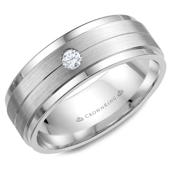 Crown Ring Satin Diamond Men's Band Rolland's Jewelers Libertyville, IL