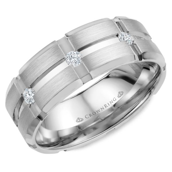Crown Ring Satin Diamond Carved Men's Band Rolland's Jewelers Libertyville, IL