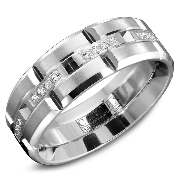 Carlex White Gold and Diamond Men's Wedding Band Rolland's Jewelers Libertyville, IL