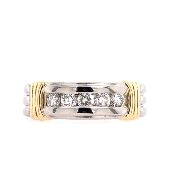Estate Platinum and 14K Yellow Gold Men's Diamond Channel Set Band Rolland's Jewelers Libertyville, IL