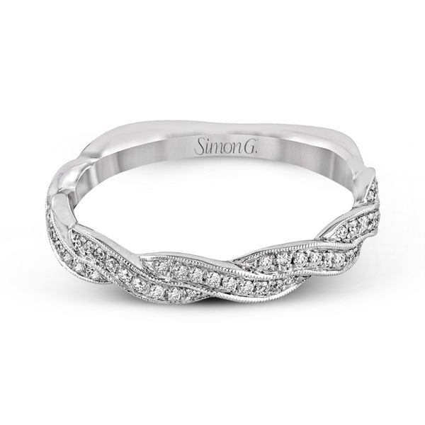 Simon G. Diamond Criss Cross Wedding Band Image 2 Rolland's Jewelers Libertyville, IL