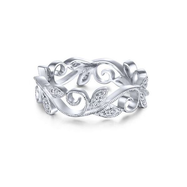 Gabriel Floral Branch Diamond Eternity Ring Rolland's Jewelers Libertyville, IL
