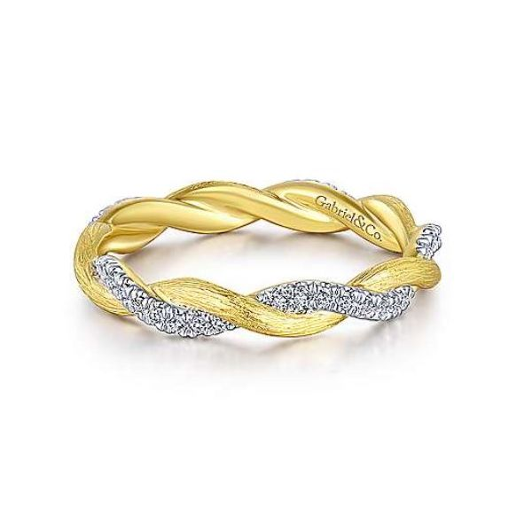 Gabriel Twisted Diamond Stackable Ring Rolland's Jewelers Libertyville, IL