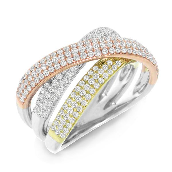 Shy Creation Tri Gold Criss Cross Ring Rolland's Jewelers Libertyville, IL