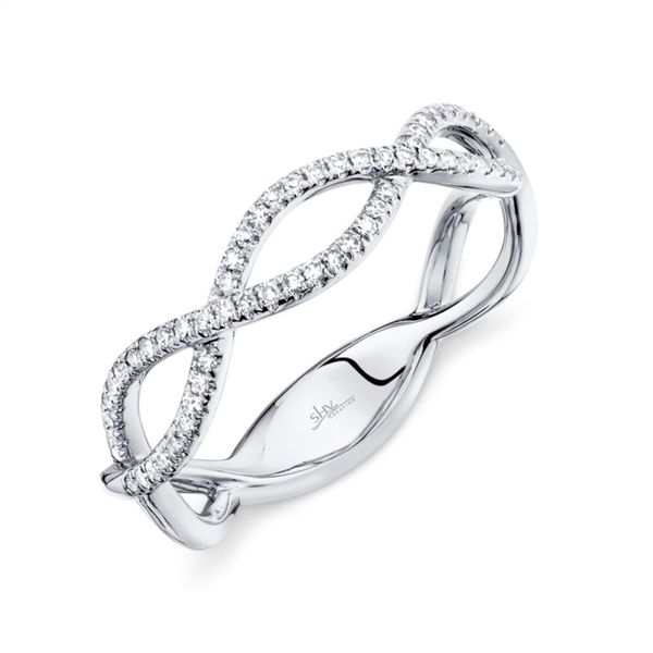 14K White Gold Criss Cross Ring with Diamonds Rolland's Jewelers Libertyville, IL