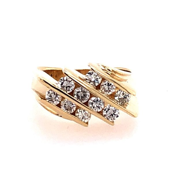 Estate 14K Yellow Gold 3-Row Diamond Anniversary Band Rolland's Jewelers Libertyville, IL