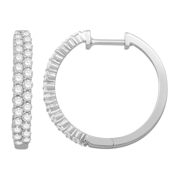 Rolland's Design White Gold Diamond Hoop Earrings Rolland's Jewelers Libertyville, IL