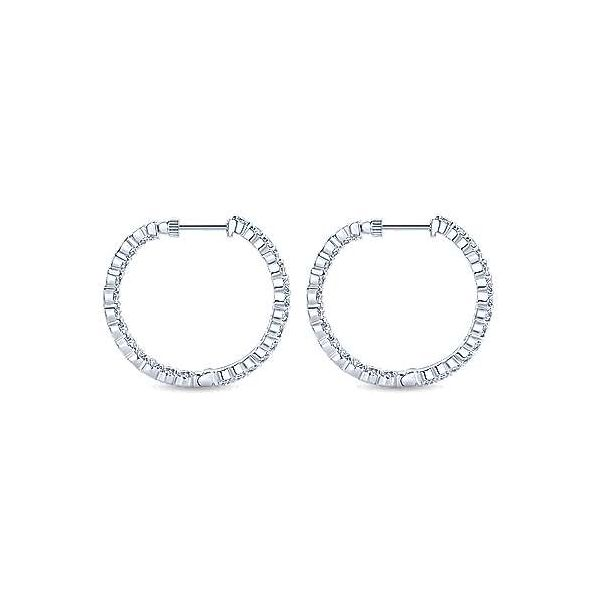 Gabriel 14K White Gold Prong Set 30mm Round Inside Out Diamond Hoop Earrings Image 2 Rolland's Jewelers Libertyville, IL