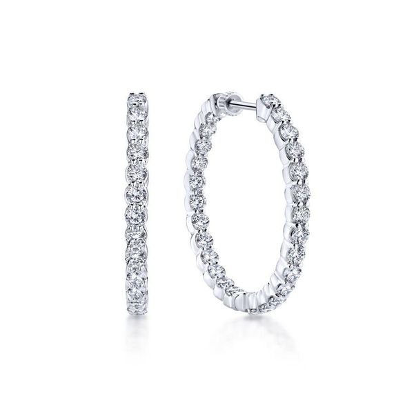 Gabriel 14K White Gold Prong Set 30mm Round Inside Out Diamond Hoop Earrings Rolland's Jewelers Libertyville, IL