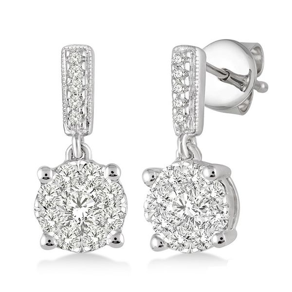 Rolland's Design Diamond Cluster Earrings Rolland's Jewelers Libertyville, IL