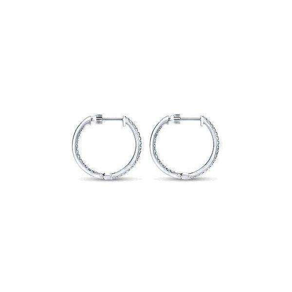 Gabriel 14K White Gold Tiger Claw Set 20mm Round Inside Out Diamond Hoop Earrings Image 2 Rolland's Jewelers Libertyville, IL