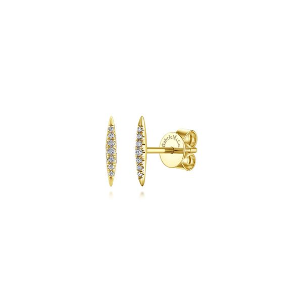 Gabriel 14K Yellow Gold Pave Diamond Spiked Stud Earrings Rolland's Jewelers Libertyville, IL