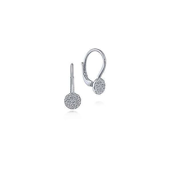 Gabriel 14K White Gold Round Pave Diamond Drop Earrings Rolland's Jewelers Libertyville, IL