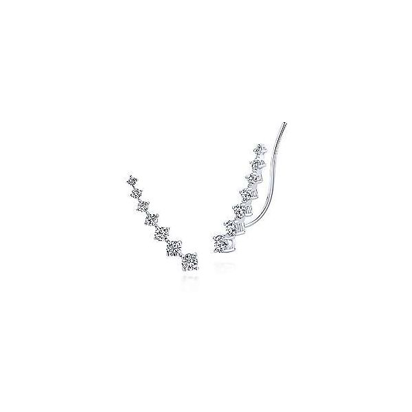 Gabriel Graduated Round Diamond Ear Climber Earrings Rolland's Jewelers Libertyville, IL