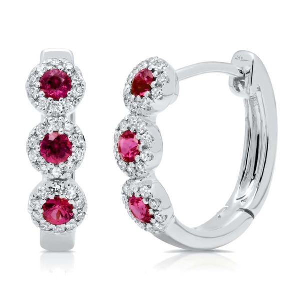 Ruby and Diamond Mini Hoop Earrings Rolland's Jewelers Libertyville, IL
