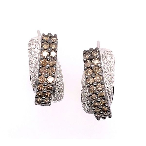 Estate 14K White Gold Diamond and Chocolate Diamond Earrings Rolland's Jewelers Libertyville, IL