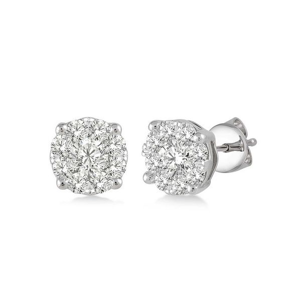 Rolland's Design Diamond Cluster Earrings .35 Cts Rolland's Jewelers Libertyville, IL
