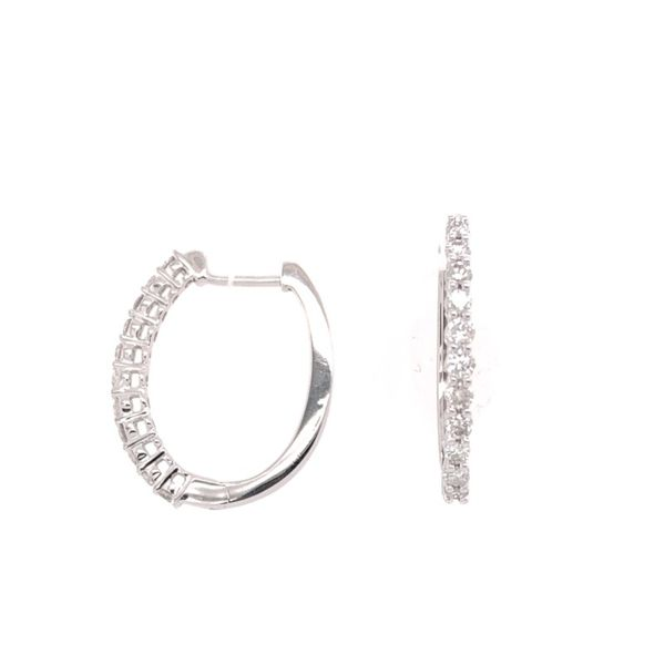 Estate 14K White Gold Oval Diamond Hoops Rolland's Jewelers Libertyville, IL