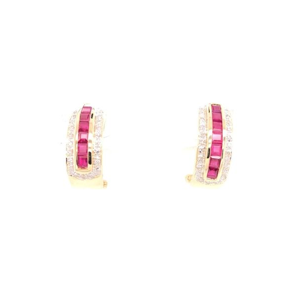 Estate Ruby & Diamond Omega Back Earrings Rolland's Jewelers Libertyville, IL