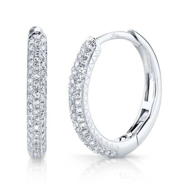 Shy Creation Pave Diamond Hoop Earrings Rolland's Jewelers Libertyville, IL