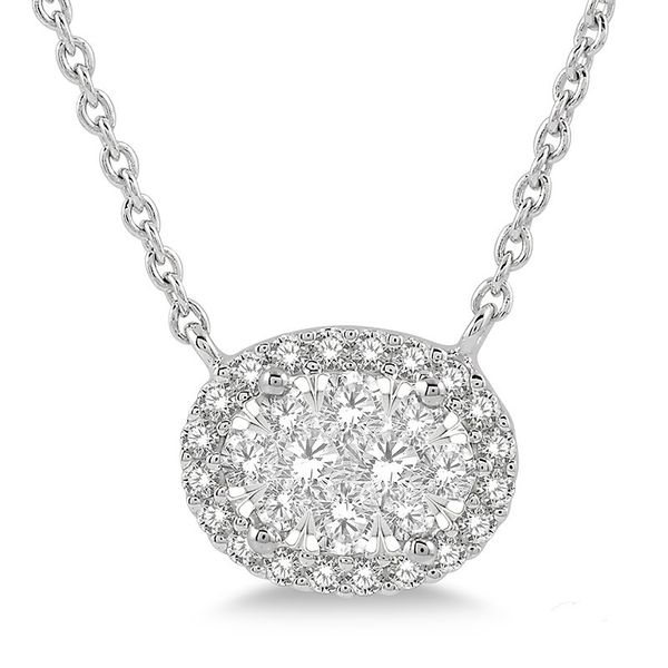 Rolland's Design Diamond Halo Necklace Rolland's Jewelers Libertyville, IL