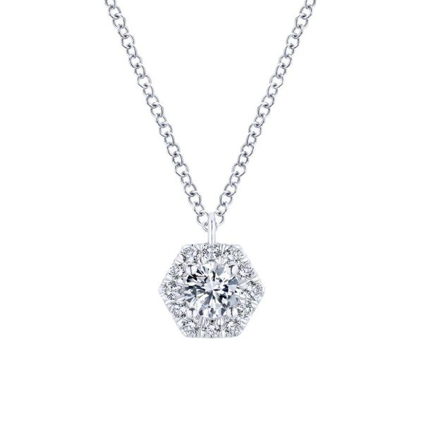 Gabriel 14K White Gold Round Diamond Hexagonal Halo Pendant Necklace Rolland's Jewelers Libertyville, IL