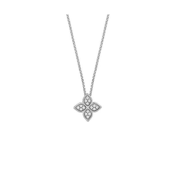Roberto Coin Diamond Princess Flower Necklace Rolland's Jewelers Libertyville, IL