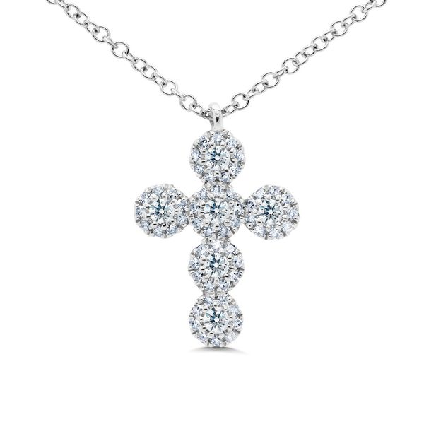 Rolland's Design Diamond Cluster Cross Necklace Rolland's Jewelers Libertyville, IL