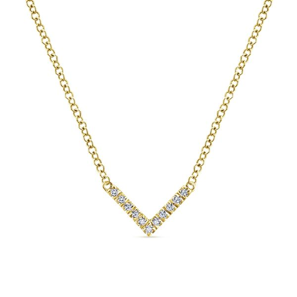 Gabriel V Shaped Diamond Bar Necklace Rolland's Jewelers Libertyville, IL