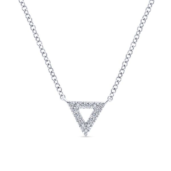 Gabriel Diamond Pave Triangle Pendant Necklace Rolland's Jewelers Libertyville, IL
