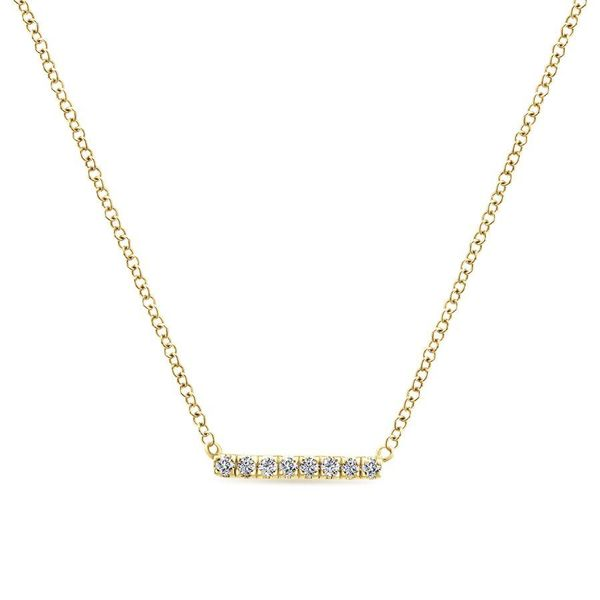 Gabriel Petite Pave Diamond Bar Necklace Rolland's Jewelers Libertyville, IL