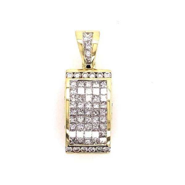 Estate 18K Yellow Gold Invisible Set Diamond Pendant Rolland's Jewelers Libertyville, IL