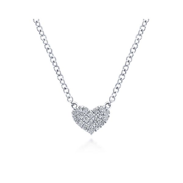 Gabriel Diamond Pave Heart Necklace Rolland's Jewelers Libertyville, IL