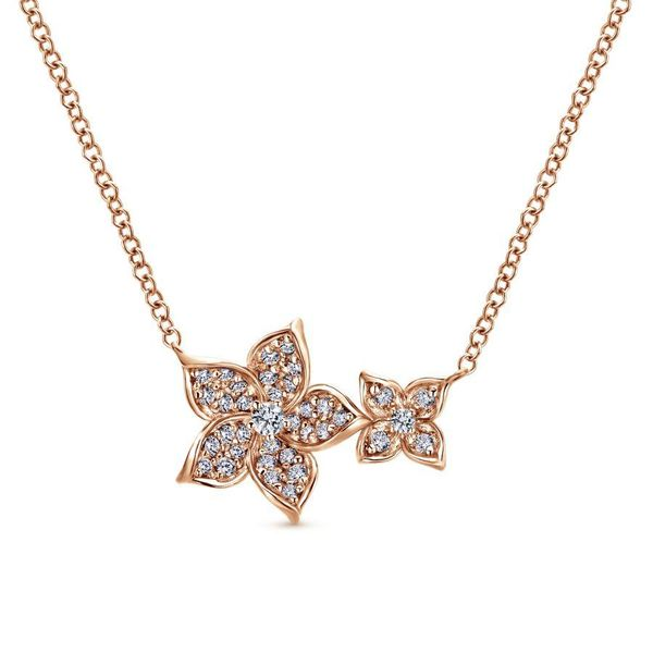 Gabriel Double Pave Flower Necklace Rolland's Jewelers Libertyville, IL