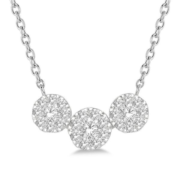Triple Cluster Diamond Necklace Rolland's Jewelers Libertyville, IL