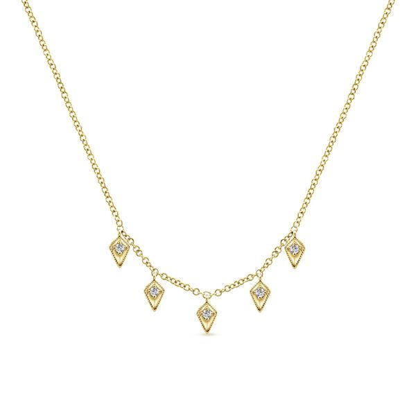 Gabriel Kite Shaped Drops Station Necklace with Diamonds Rolland's Jewelers Libertyville, IL