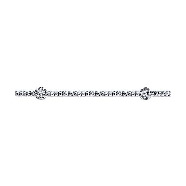 Gabriel Diamond Tennis Bracelet with Round Cluster Stations Image 2 Rolland's Jewelers Libertyville, IL
