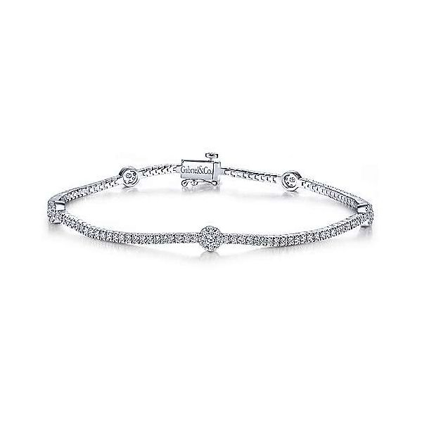 Gabriel Diamond Tennis Bracelet with Round Cluster Stations Rolland's Jewelers Libertyville, IL