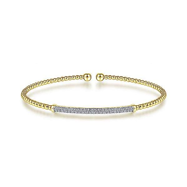 Gabriel 14K Yellow Gold Bujukan Split Cuff Bracelet with Diamond Pav Bar Rolland's Jewelers Libertyville, IL