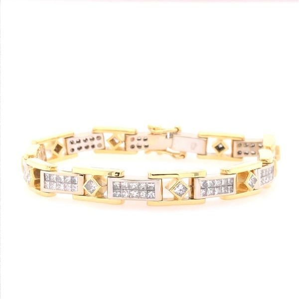 Estate 18K Two Tone Diamond Tennis Bracelet Image 2 Rolland's Jewelers Libertyville, IL
