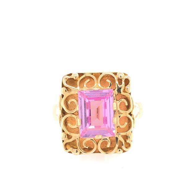 Estate 18K Yellow Gold Emerald Pink Ice Ring Rolland's Jewelers Libertyville, IL