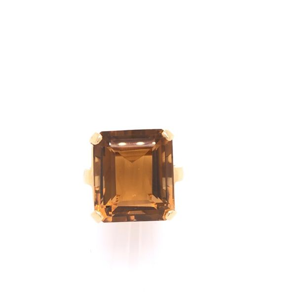 Estate 14K Yellow Gold Emerald Cut Citrine Ring Rolland's Jewelers Libertyville, IL