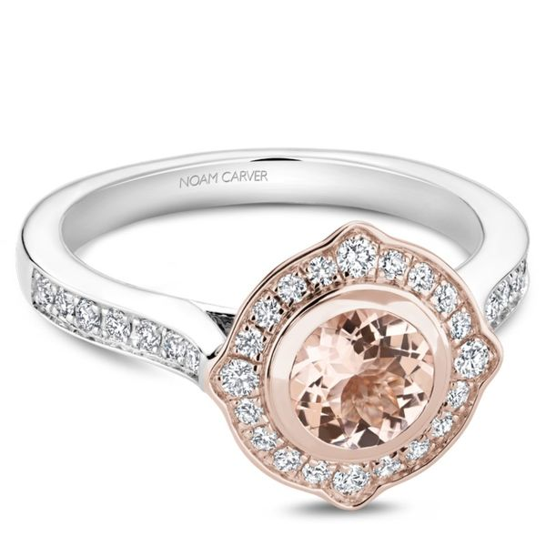 Noam Carver Diamond and Morganite Halo Setting Image 2 Rolland's Jewelers Libertyville, IL