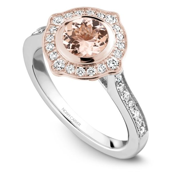 Noam Carver Diamond and Morganite Halo Setting Rolland's Jewelers Libertyville, IL
