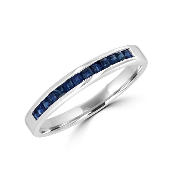 14K White Gold Blue Sapphire Channel Set Band Rolland's Jewelers Libertyville, IL