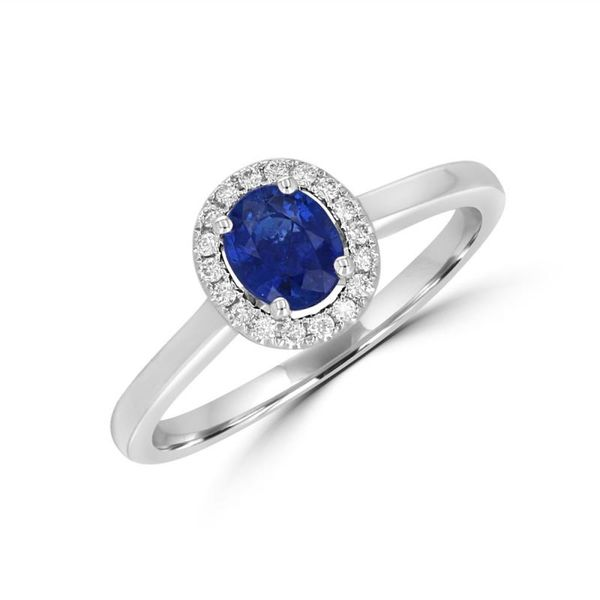 Rolland's Design - 14K White Gold Oval Sapphire Ring with Diamonds Rolland's Jewelers Libertyville, IL
