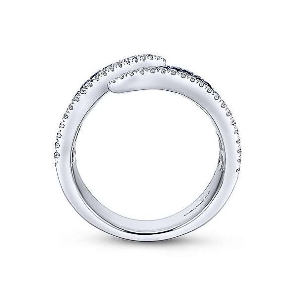 Gabriel 14K White Gold Sapphire and Diamond Pav Open Ring Image 2 Rolland's Jewelers Libertyville, IL
